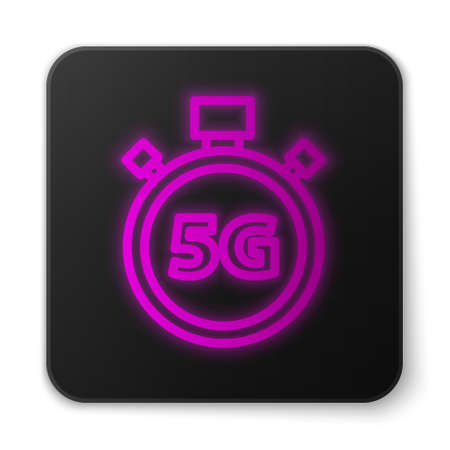 Glowing neon line Digital speed meter concept with 5G icon isolated on white background. Global network high speed connection data rate technology. Black square button. Vector