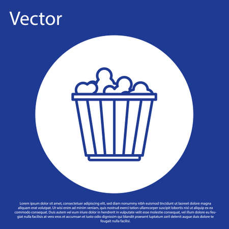 Blue line Popcorn in cardboard box icon isolated on blue background. Popcorn bucket box. White circle button. Vector