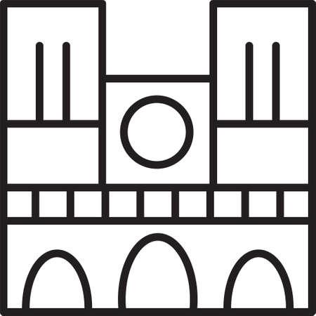 Black line Landmark of France Notre Dame de Paris icon isolated on white background. Vector