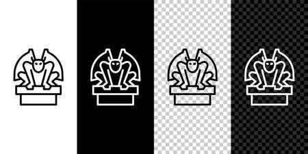 Set line Gargoyle on pedestal icon isolated on black and white background. Vector Vecteurs