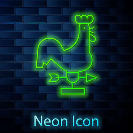 Glowing neon line Rooster weather vane icon isolated on brick wall background. Weathercock sign. Windvane rooster. Vector