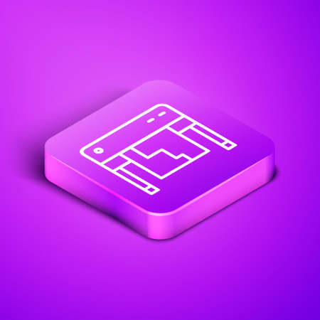 Isometric line Plotter icon isolated on purple background. Large format multifunction printer. Polygraphy, printshop service. Purple square button. Vector