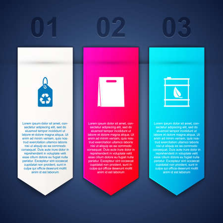 Set Tag with recycle, Shopping bag and Bio fuel barrel. Business infographic template. Vector