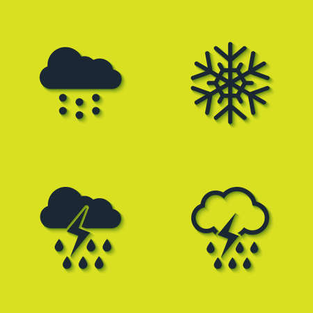 Set Cloud with snow, rain and lightning, and Snowflake icon. Vector 向量圖像