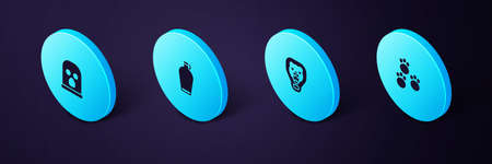 Set Isometric Paw print, Bear head on shield, Canteen water bottle and Balaclava icon. Vector
