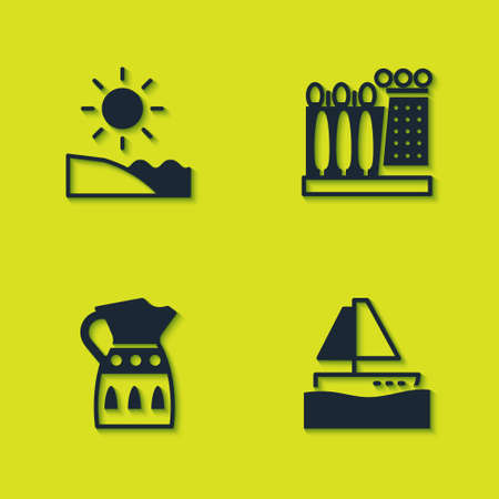 Set Beach, Yacht sailboat, Sangria pitcher and Dali museum icon. Vector
