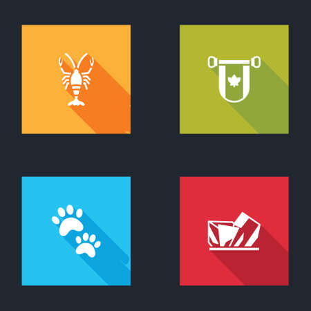 Set Lobster, Pennant Canada, Paw print and Royal Ontario museum icon. Vector
