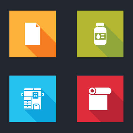 Set Empty document, Printer ink bottle, Copy machine and Roll of paper icon. Vector
