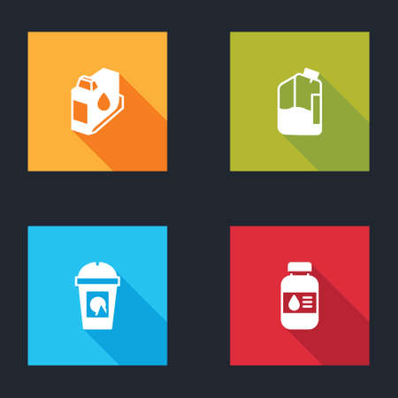 Set Printer ink cartridge, bottle, Coffee cup to go and icon. Vector Иллюстрация