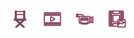 Set line Director movie chair, Cinema camera, Play Video and icon. Vector