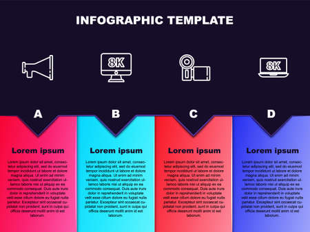 Set line Megaphone, Monitor with 8k, Cinema camera and Laptop. Business infographic template. Vector