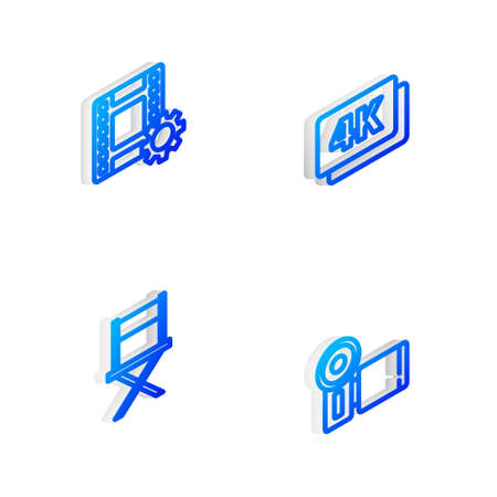 Set Isometric line Ultra HD, Play Video, Director movie chair and Cinema camera icon. Vector