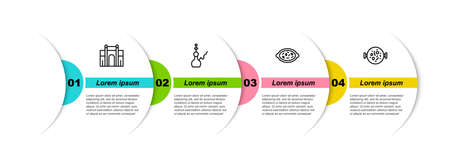 Set line India Gate in Delhi, Hookah, Kheer bowl and Chicken tikka masala. Business infographic template. Vector