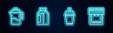Set line French press, Bag of coffee beans, Coffee cup to go and machine. Glowing neon icon. Vector