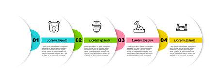 Set line Bear head, Hockey helmet, Flying duck and Capilano Suspension Bridge. Business infographic template. Vector