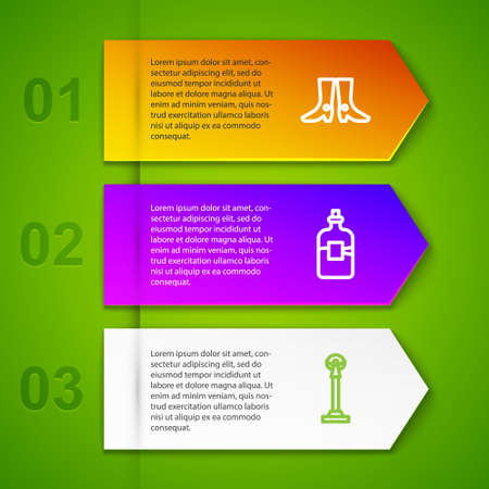 Set line Ukrainian footwear, Bottle of vodka and Monument Independence. Business infographic template. Vector