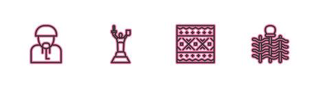 Set line Ukrainian cossack, ethnic pattern, Mother Motherland monument and Wicker fence icon. Vector Illusztráció
