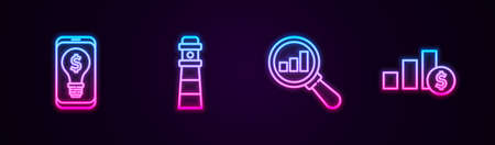 Set line Light bulb with dollar on mobile, Lighthouse, Magnifying glass and analysis and Pie chart. Glowing neon icon. Vector