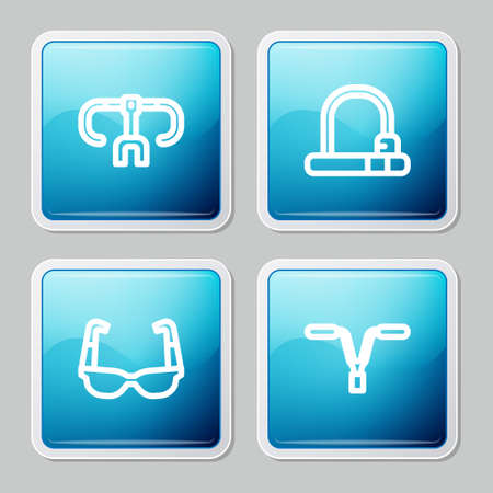 Set line Bicycle handlebar, lock, Sport cycling sunglasses and icon. Vector