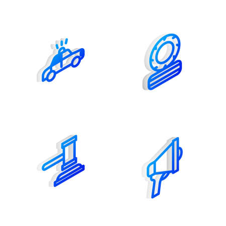 Set Isometric line Lying burning tires, Police car and flasher, Judge gavel and Megaphone icon. Vector