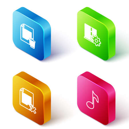 Set Isometric line Delete file document, Server setting, and Music note, tone icon. Vector
