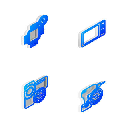 Set Isometric line Microwave oven, Processor setting, Video camera and Drill machine icon. Vector