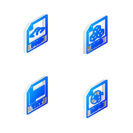 Set Isometric line 3DS file document, PHP, TXT and MP3 icon. Vector