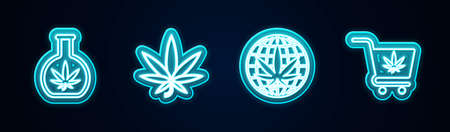 Set line Test tube with marijuana, Marijuana or cannabis leaf, Legalize and Shopping cart. Glowing neon icon. Vector
