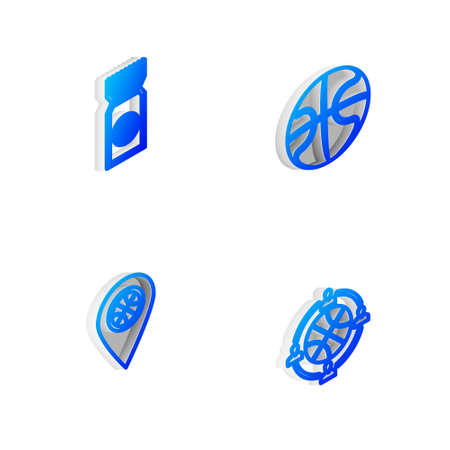 Set Isometric line Basketball ball, game ticket, Location with basketball and Planning strategy icon. Vector