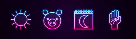 Set line Sun, Pig zodiac, Moon phases calendar and Palmistry of the hand. Glowing neon icon. Vector