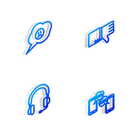 Set Isometric line Dislike, Speech bubble with sad smile, Headphones and Chat messages mobile icon. Vector
