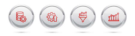 Set line Server and gear, Arrow growth, Sales funnel with chart and Pie infographic. Silver circle button. Vector