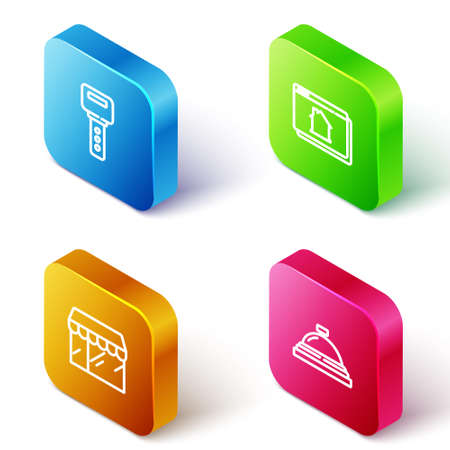Set Isometric line House key, Online real estate house, Market store and Hotel service bell icon. Vector