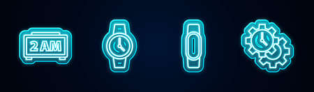 Set line Digital alarm clock, Wrist watch, Smartwatch and Time Management. Glowing neon icon. Vector