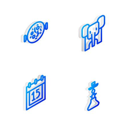 Set Isometric line Elephant, Chicken tikka masala, Independence day India and Hookah icon. Vector Illustration