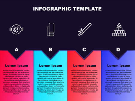 Set line Chicken tikka masala, Indian textile fabric, Bamboo flute indian and Yagna. Business infographic template. Vector Illustration
