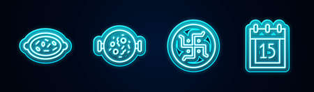 Set line Kheer in a bowl, Chicken tikka masala, Hindu swastika and Independence day India. Glowing neon icon. Vector