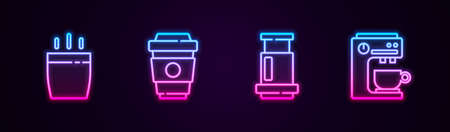 Set line Coffee cup, to go, Aeropress coffee and machine. Glowing neon icon. Vector