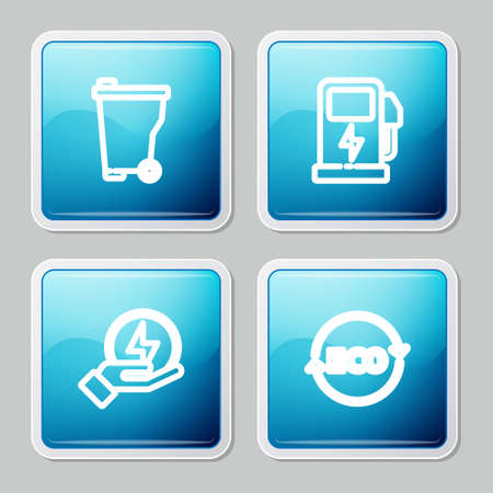 Set line Trash can, Electric car charging station, Lightning bolt and Label for eco healthy food icon. Vector