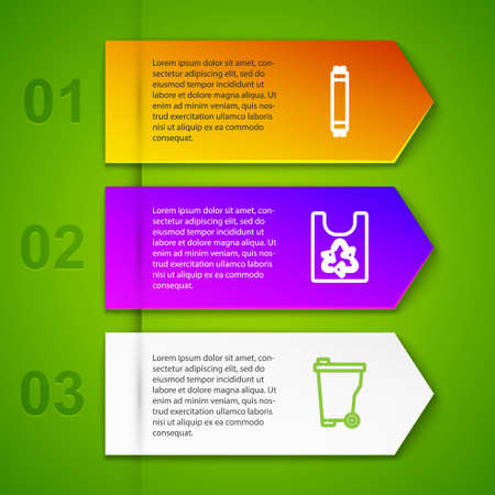 Set line Fluorescent lamp, Plastic bag with recycle, Trash can and Solar energy panel. Business infographic template. Vector