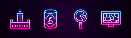 Set line Montjuic castle, Olives in can, Omelette frying pan and Picture art. Glowing neon icon. Vector