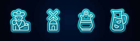 Set line Bullfight, matador, Windmill, Sangria pitcher and . Glowing neon icon. Vector