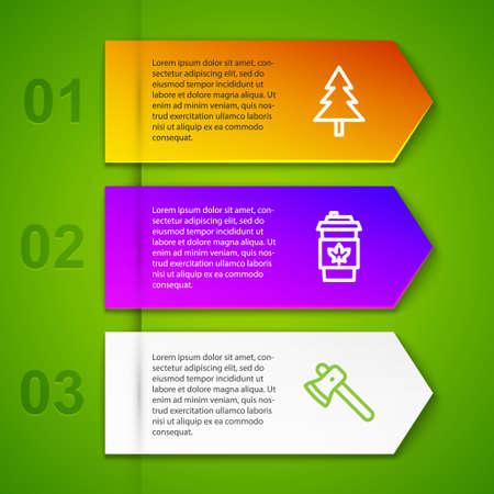 Set line Christmas tree, Coffee cup to go, Wooden axe and Canadian lake. Business infographic template. Vector