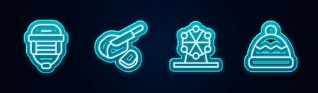 Set line Hockey helmet, Peameal bacon, Ferris wheel and Beanie hat. Glowing neon icon. Vector