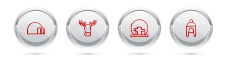 Set line Igloo ice house, Moose head with horns, Montreal Biosphere and Winter hat. Silver circle button. Vector