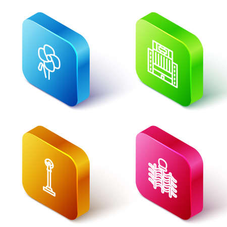 Set Isometric line Poppy flower, Hotel Ukraina building, Monument of Independence and Wicker fence icon. Vector