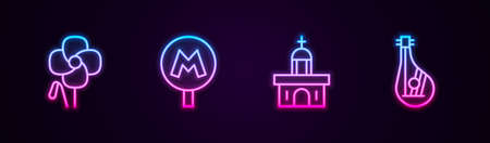 Set line Poppy flower, Metro or Underground, Church building and Bandura. Glowing neon icon. Vector