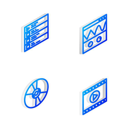 Set Isometric line Oscilloscope, Music playlist, CD or DVD disk and Online video icon. Vector