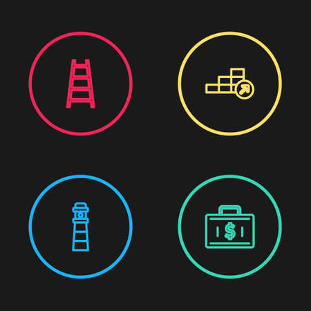 Set line Lighthouse, Briefcase and money, Financial growth and Stair with finish flag icon. Vector