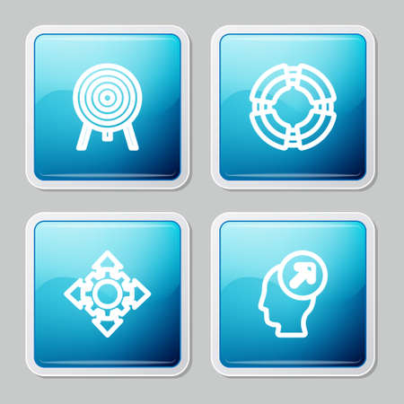 Set line Target, Business lifebuoy, Project team base and Head hunting concept icon. Vector